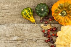Autumn farm decoration. Harvest pumpkins. Autumn background corner frame with pumpkins and leaves. Stock Photography