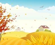 Autumn farm. Illustration of a beautiful fall farm scene with cornfields Stock Images