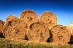 Autumn farm landscape with haystack Stock Photo