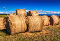 Autumn farm landscape with haystack Royalty Free Stock Images