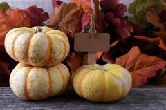 Autumn Farm Stand con tres calabazas blancas Imágenes de archivo libres de regalías