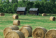Autumn farm and straw piles Stock Images