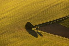 Autumn farmland in the Czech Republic from above royalty free stock photography