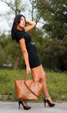 Autumn fashion. Beautiful brunette fashion female wearing short black dress and brown shoes on heels holding brown bag in her hand and posing outdoors against Royalty Free Stock Photography