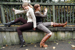 Autumn fashion. Two fashion models in autumn clothes Royalty Free Stock Image
