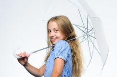 Autumn fashion. Child. Happy childhood. School time. Feeling protected at this autumn day. Happy little girl with. Umbrella. Small girl with umbrella in rainy stock image