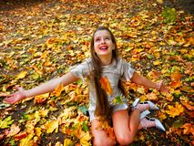 Autumn fashion dress child girl sitting fall leaves park outdoor. royalty free stock photos