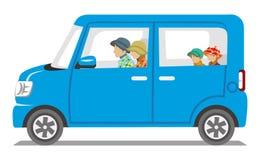 Autumn fashion Family riding the Blue car  - Isolated Stock Photos