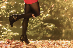 Autumn fashion. Female legs in black pantyhose outdoor Royalty Free Stock Photography