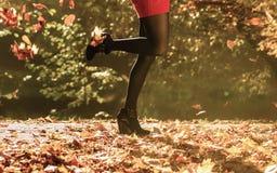 Autumn fashion. Female legs in black pantyhose outdoor Royalty Free Stock Photos