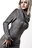 Autumn Fashion Girl. Beautiful Blond Girl Posing In A Big Collar Autumn Sweater Stock Image