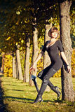 Autumn fashion girl royalty free stock image