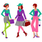 Autumn fashion girl set Royalty Free Stock Images