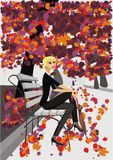 Autumn fashion - illustration of a girl Royalty Free Stock Images