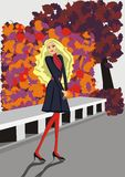 Autumn fashion - illustration of a girl Royalty Free Stock Photos