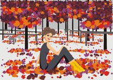 Autumn fashion - illustration of a girl Stock Image