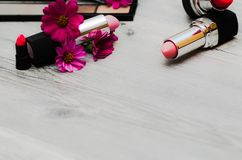 Autumn Fashion Lady Accessories Set. Cosmetic Makeup Woman Essentials. Vintage. royalty free stock photos