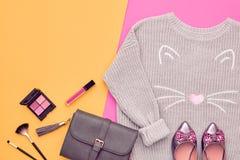 Autumn Fashion Lady Clothes Set cosmetic Royaltyfria Foton