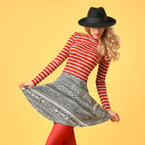 Autumn Fashion. Model Woman in Stylish Fall Outfit royalty free stock images
