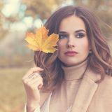 Autumn Fashion Model Woman with Wavy Hair Stock Images