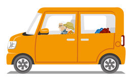 Autumn fashion Senior couple riding the Orange color car  - Isolated Stock Photo
