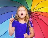 Autumn fashion. Stay positive though autumn rain season. Bright accessory for autumn. Ideas how survive cloudy autumn. Day. Small girl with umbrella rainy day stock photos