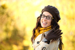 Autumn fashion woman waving Stock Photography