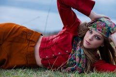 Autumn fashion woman royalty free stock photography