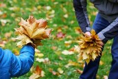 autumn father son walk Στοκ Εικόνες