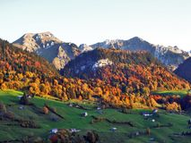Autumn feeling on the pastures and meadows of Thur River Valley royalty free stock photo