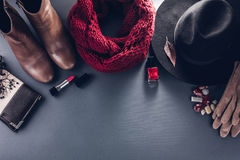 Autumn female outfit. Set of clothes, shoes and accessories Royalty Free Stock Image