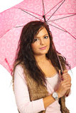 Autumn female with umbrella Royalty Free Stock Images