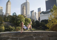 Autumn and Feminine Beauty in Central Park Stock Images