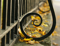 Autumn. The fence and yellow leaves. Stock Images