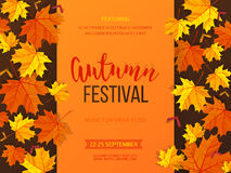 Autumn festival background. Invitation banner with fall leaves. Vector illustration. Autumn festival background. Invitation banner with fall leaves and lettering stock illustration