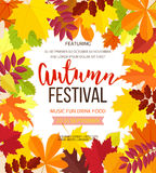 Autumn festival background. Invitation banner with fall leaves. Vector illustration Royalty Free Stock Photo