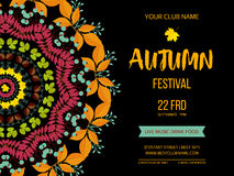 Autumn festival background. Invitation banner with fall leaves. Vector illustration Stock Image