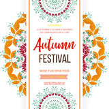 Autumn festival background. Invitation banner with fall leaves. Vector illustration Royalty Free Stock Image