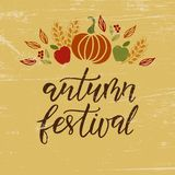 Autumn Festival hand drawn lettering phrase on yellow and wooden background royalty free illustration