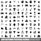 100 autumn festival icons set, simple style. 100 autumn festival icons set in simple style for any design vector illustration Stock Photos