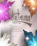 Autumn festival invitation card with colorful maple leaves. Vector illustration Royalty Free Stock Photography