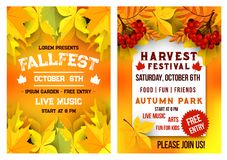 Autumn festival music picnic vector poster. Autumn fall fest and October music festival invitation leaflet or poster template of autumn maple, oak acorn and elm Stock Photography