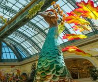 Holiday display at the Bellagio Conservatory. Autumn festival, peacock display in the Bellagio Resort, Las Vegas, Nevada Stock Image