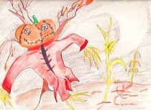 Autumn Field Scarecrow Pumpkin fotografering för bildbyråer