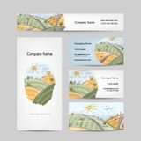 Autumn field sketch, business cards design Royalty Free Stock Photo