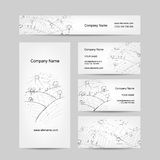 Autumn field sketch, business cards design Royalty Free Stock Photos