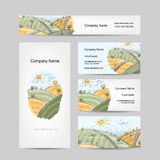 Autumn field sketch, business cards design. Vector illustration Stock Photo