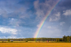 Autumn In The Fields 1. An autum view of the fields. A beautiful raibow after a rain shower royalty free stock image