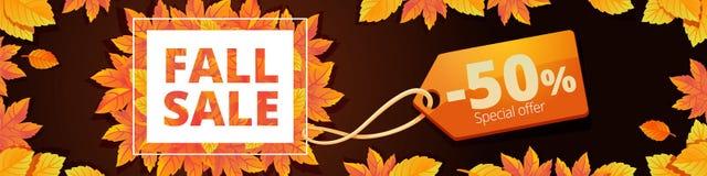 Autumn final sale banner horizontal, cartoon style vector illustration