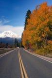 Autumn Finds Foliage Rural Road McCloud California Mount Shasta Stock Photos
